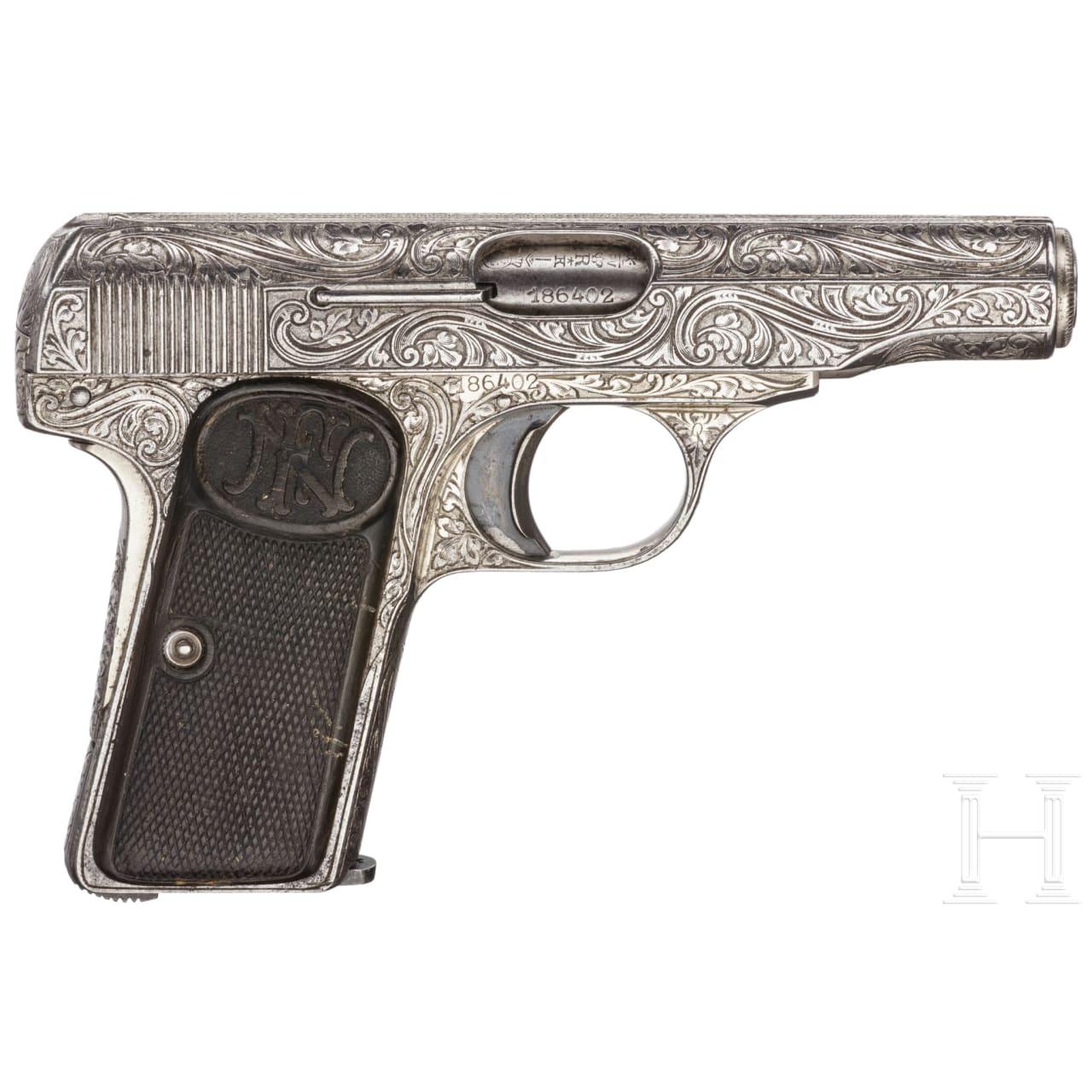 FN Mod. 1910, graviert, vernickelt