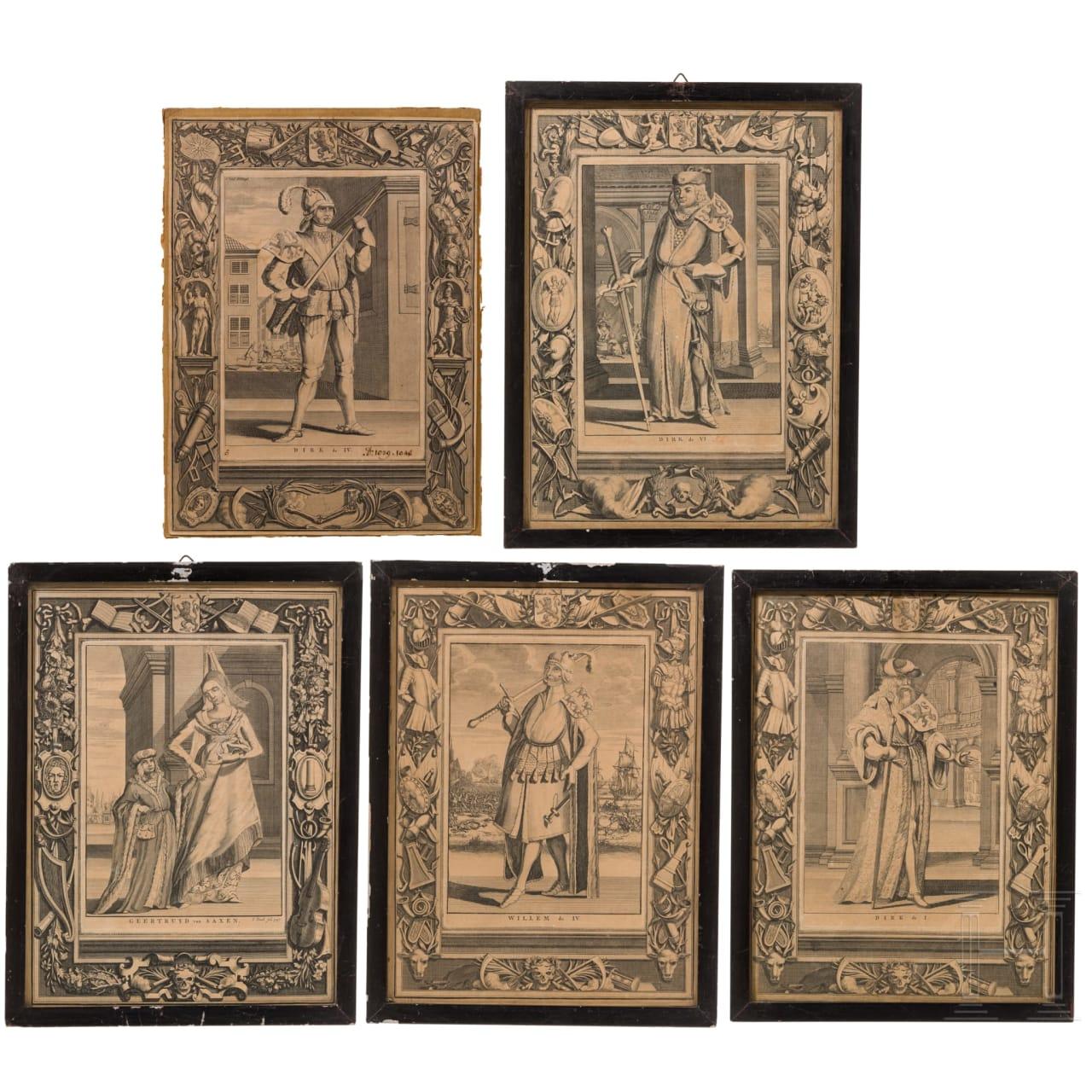 Kleine Sammlung von fünf Kupferstichen mit Schwerpunkt Grafen von Holland, Spilman, um 1750