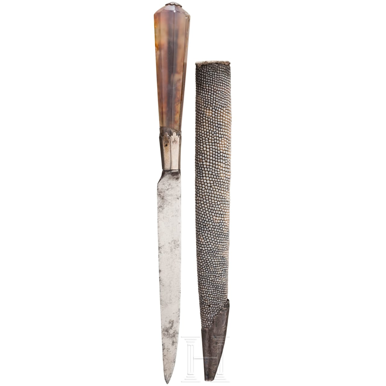A small eating knife with ray skin scabbard, England, 1st half of the 18th century