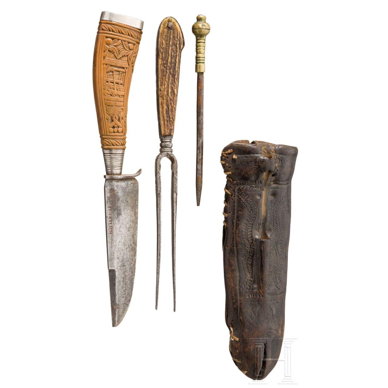 A waggoner's set of cutlery, alpine, beginning of 19th century