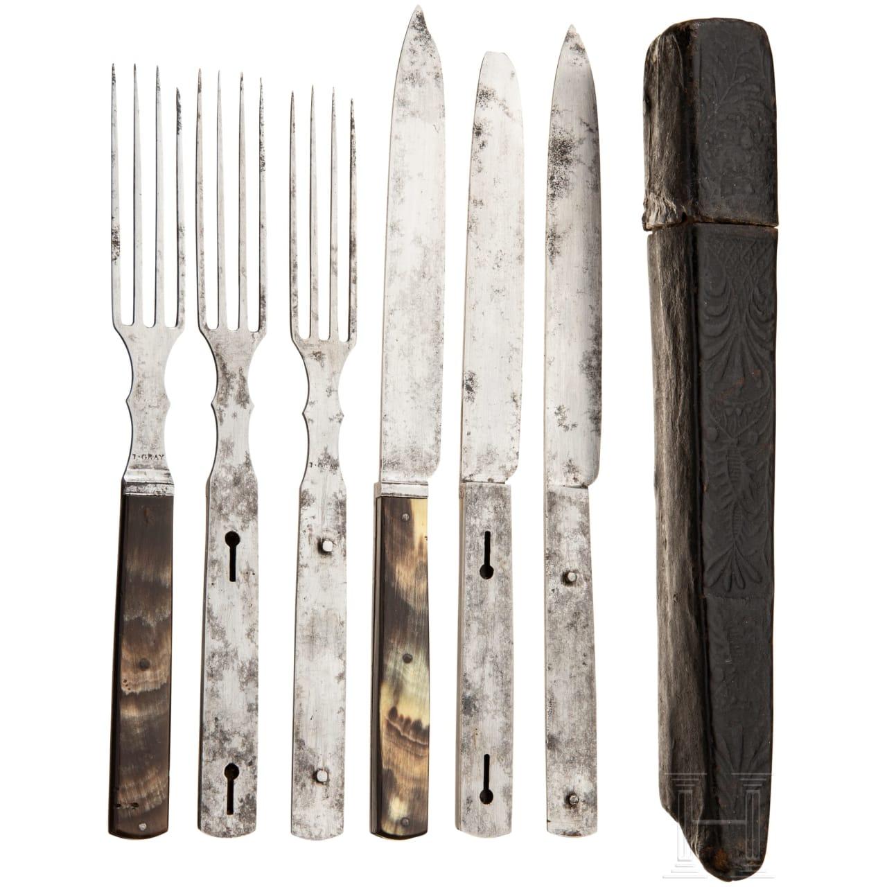 A set of travel cutlery, England, circa 1820