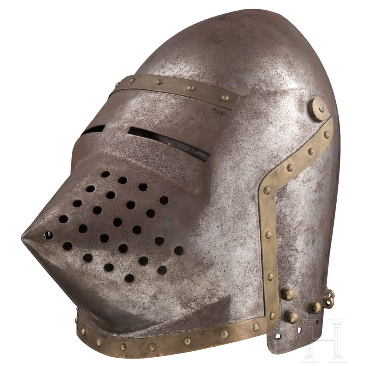 A bascinet, in the style of the early 15th century