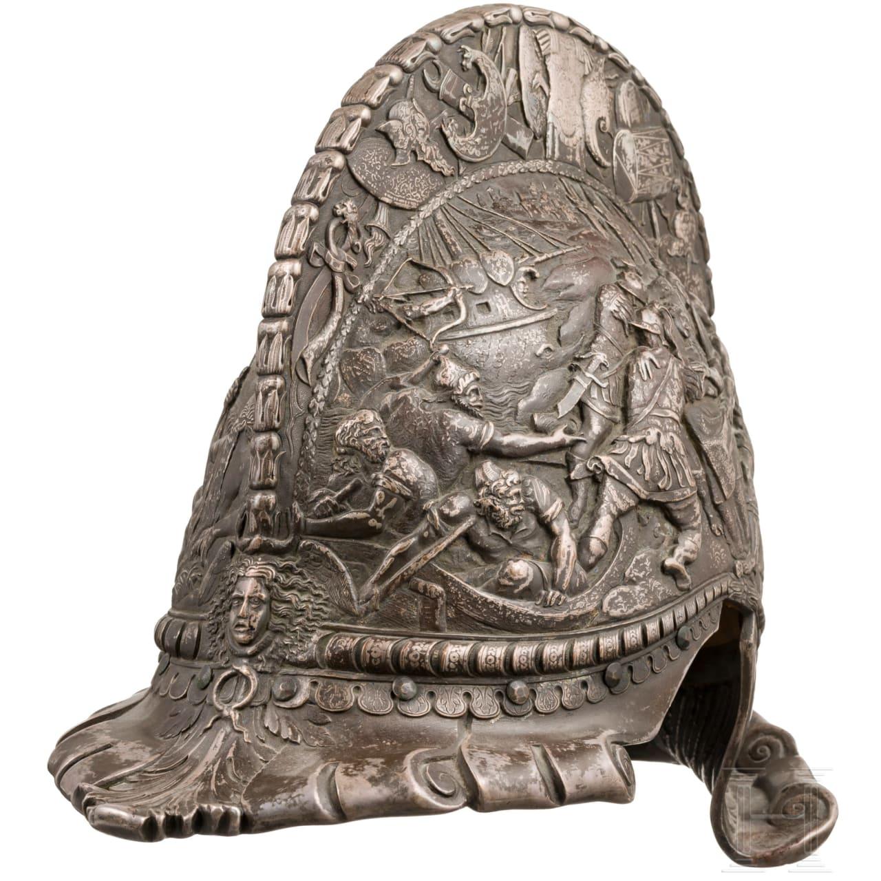 A splendid German historicism burgonet in copper die casting, modelled after the Renaissance, circa 1860