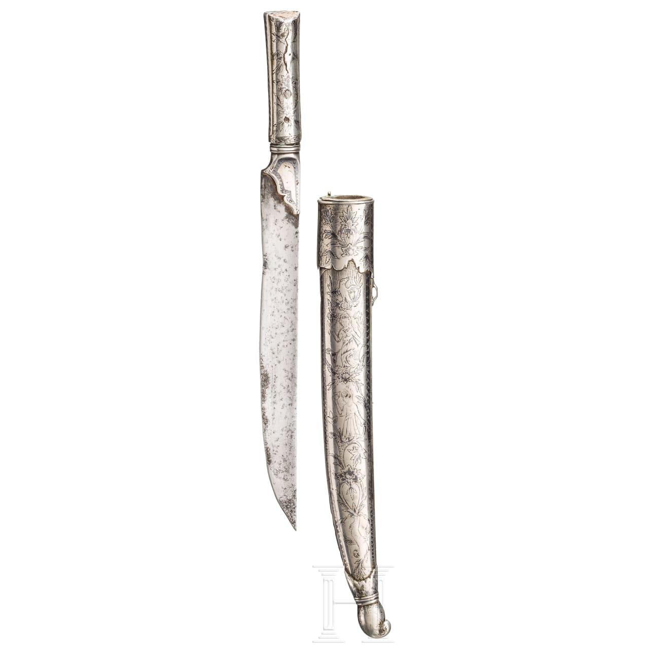 An Ottoman/Caucasian silver-mounted and nielloed dagger, 19th century