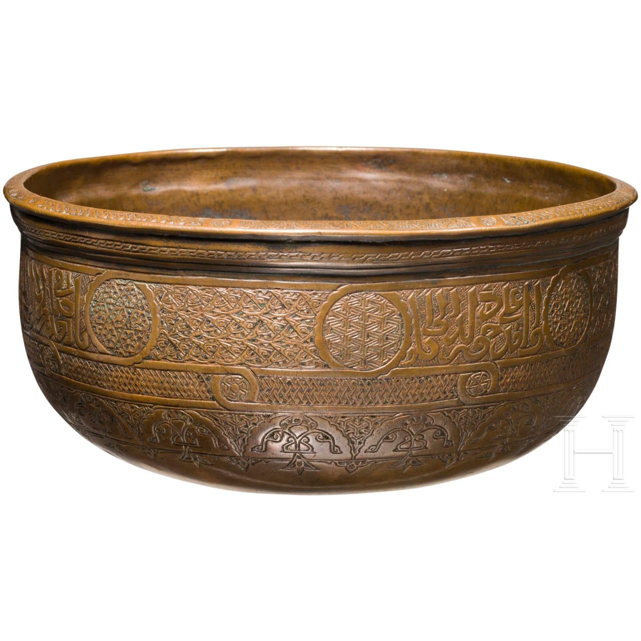 Engraved copper bowl, Mamluk style, 16th century