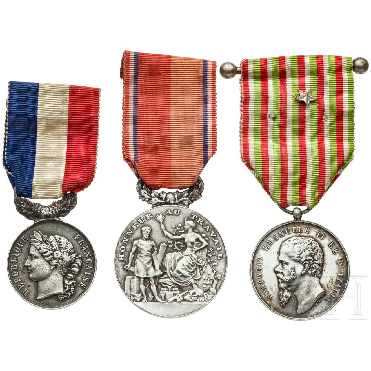 Drei silberne Medaillen, Frankreich/ Italien, 20. Jhdt.