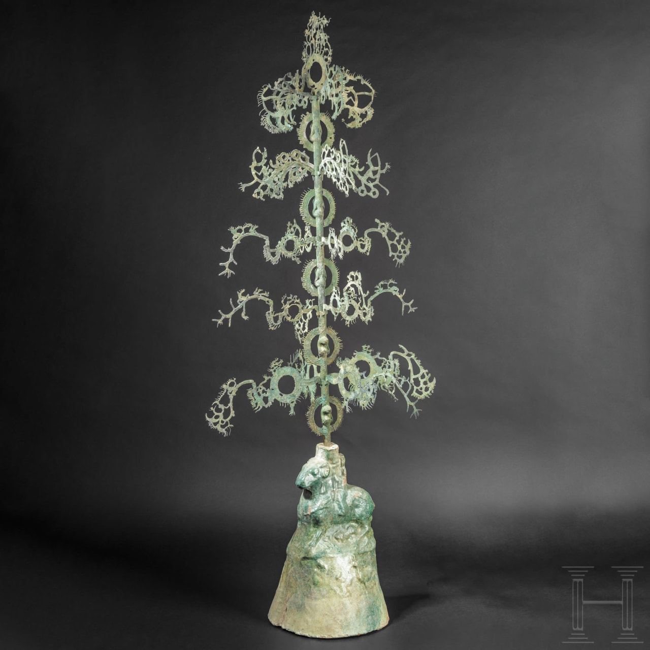 An extremely rare, early, Chinese money-shaking tree, known as yao qian shu, Eastern Han Dynasty, 25 to 220 A.D.