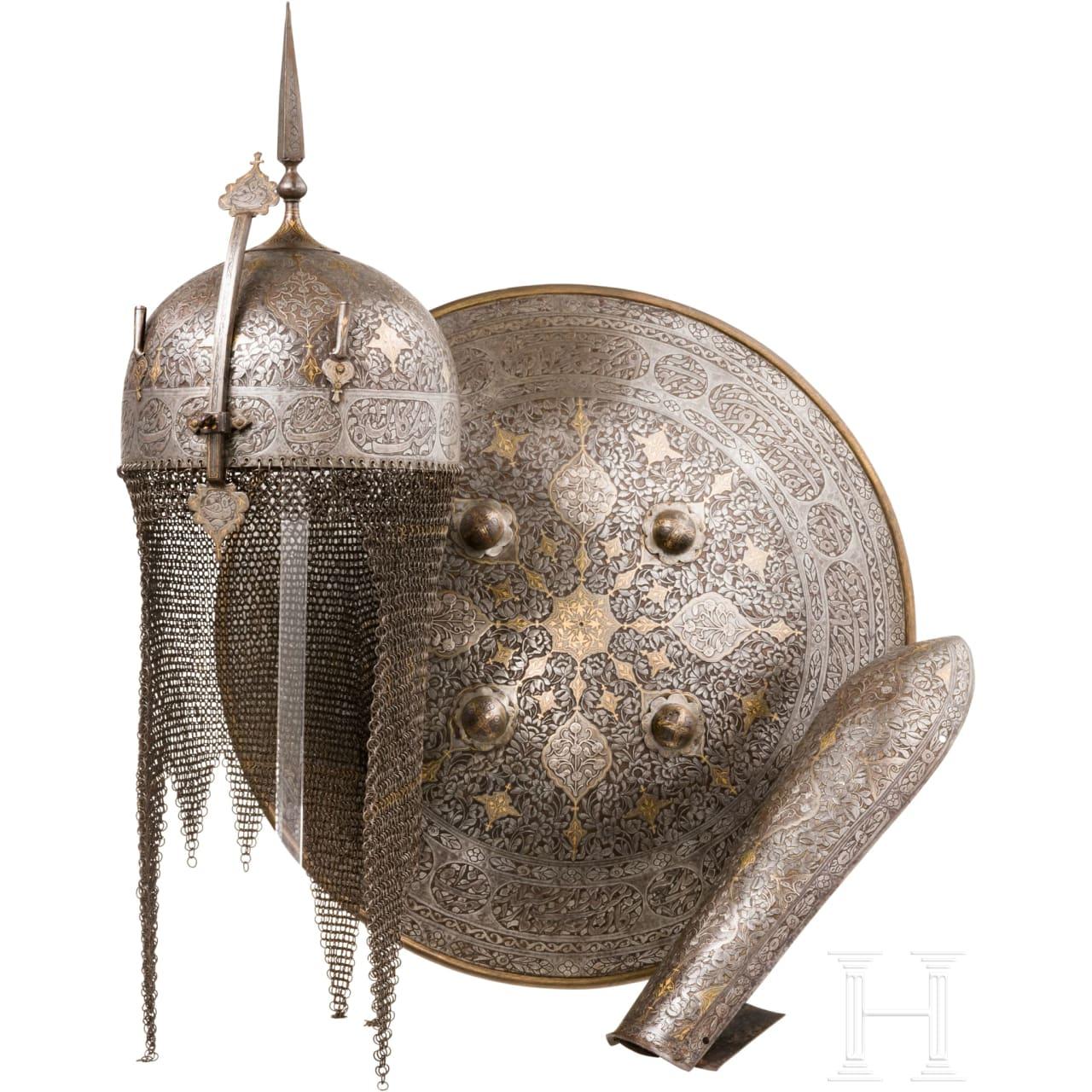 Dreiteilige Rüstungsgarnitur, Persien, 1. Hälfte 19. Jhdt.
