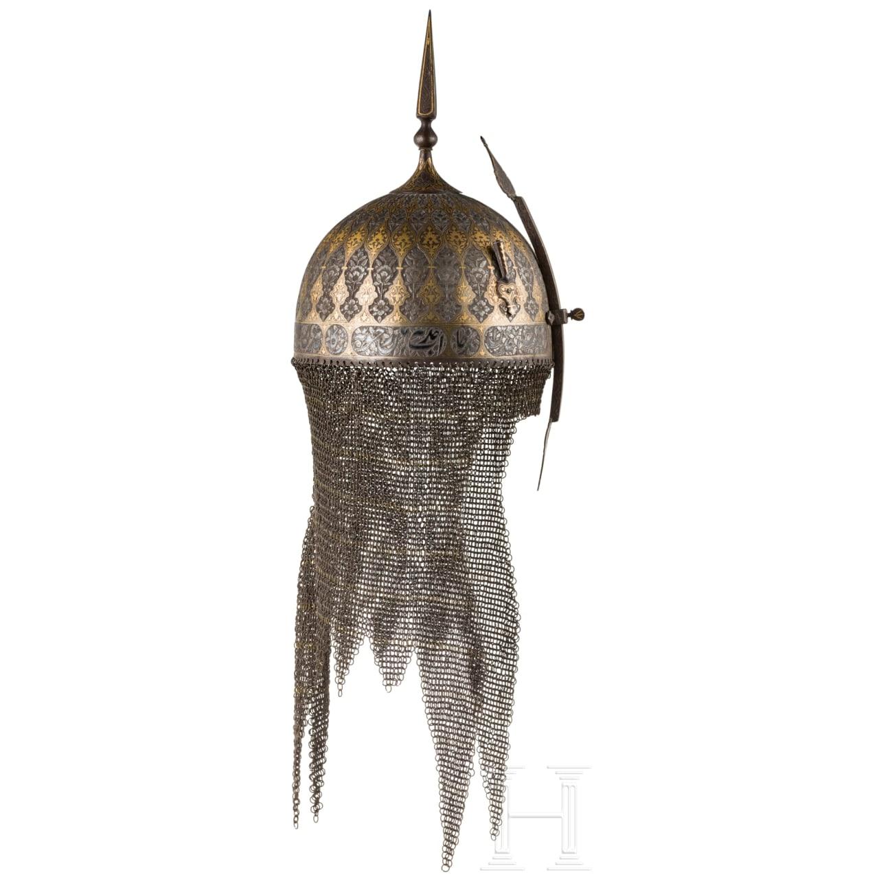 Geschnittener und goldtauschierter Helm und Schild, Persien, 19. Jhdt.
