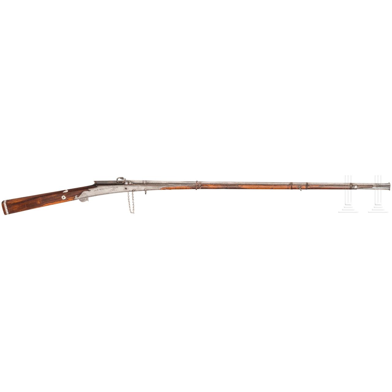 Silbertauschiertes Luntenschlossgewehr, Indien, um 1800