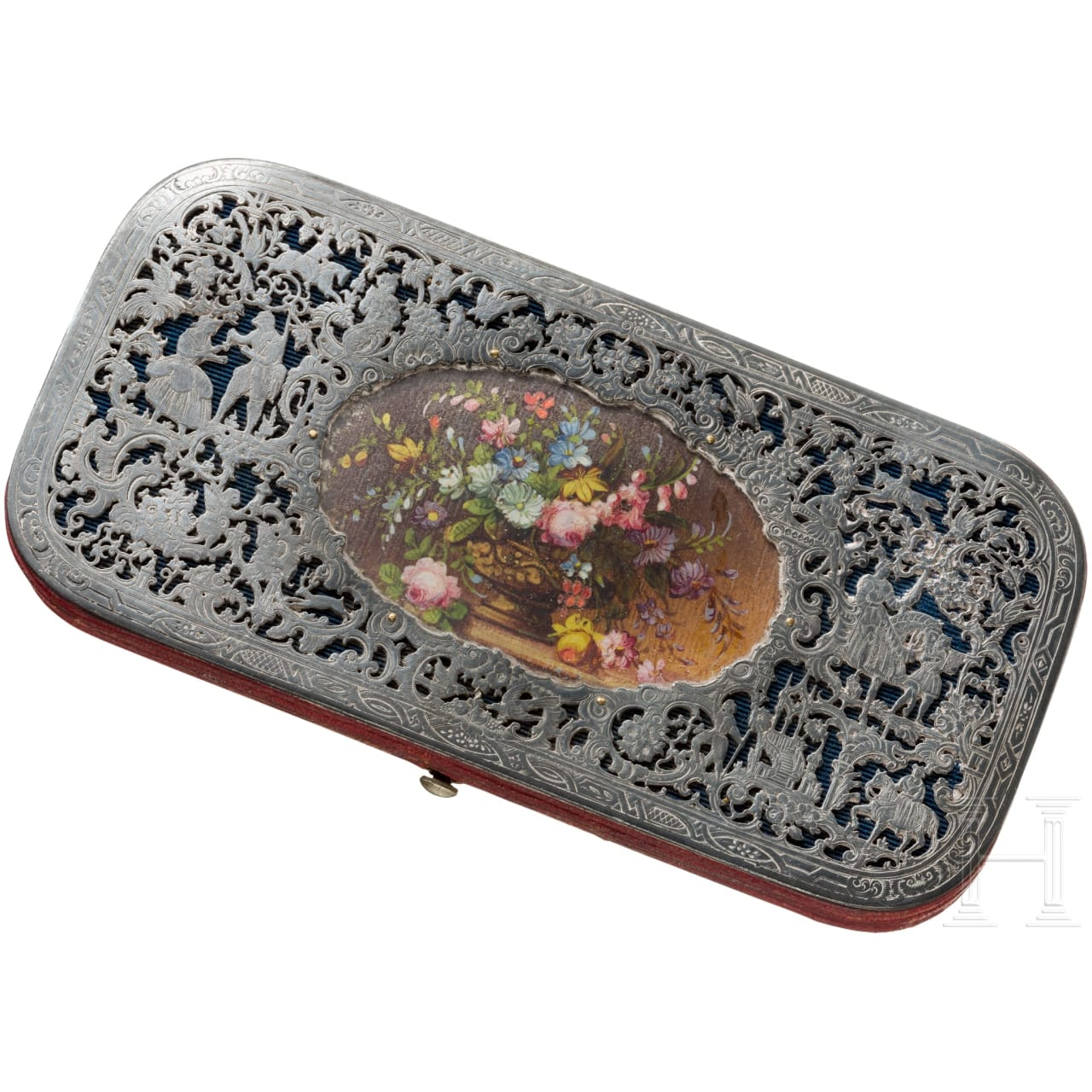 A South German silver-mounted spectacle case, circa 1860