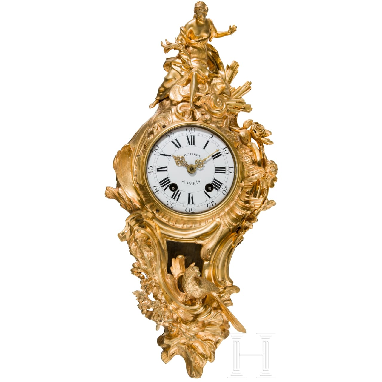 A fire-gilt Louis XV cartel clock, Dupont of Paris, mid-18th century