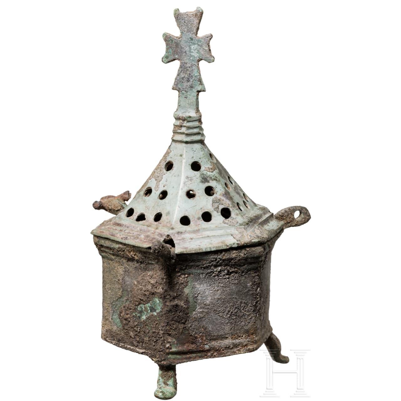 Bronzener Weihrauchbrenner, mittelbyzantinisch, 9. - 11. Jhdt.