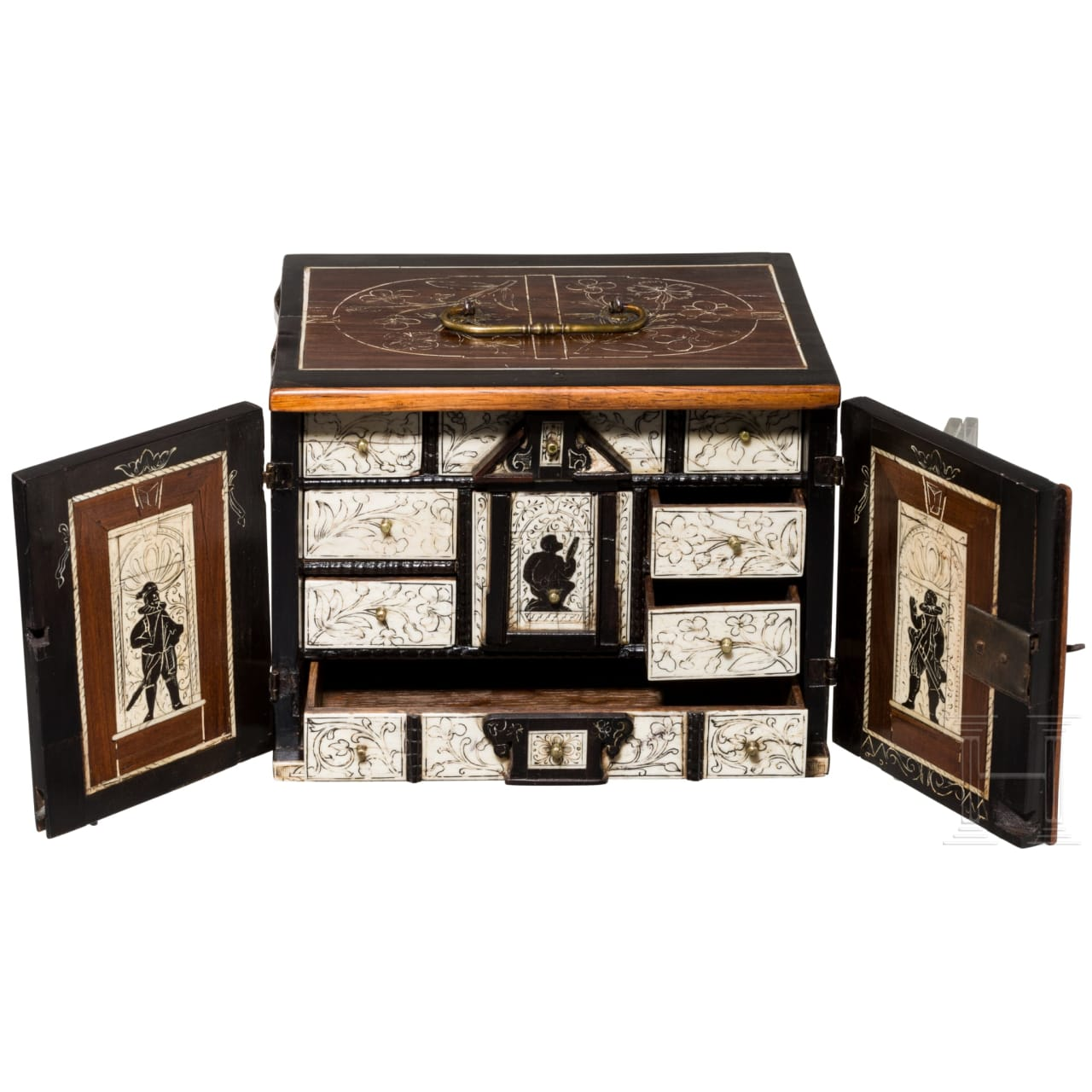 A miniature cabinet with ivory and bone panels, stamped with pinecone mark for Augsburg, 17th century