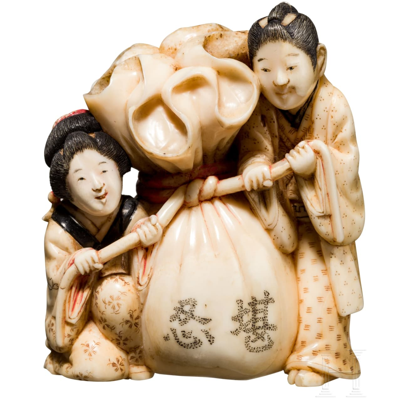 A Japanese Okimono in the form of Hotei's sack, Meihi-/Taisho-period
