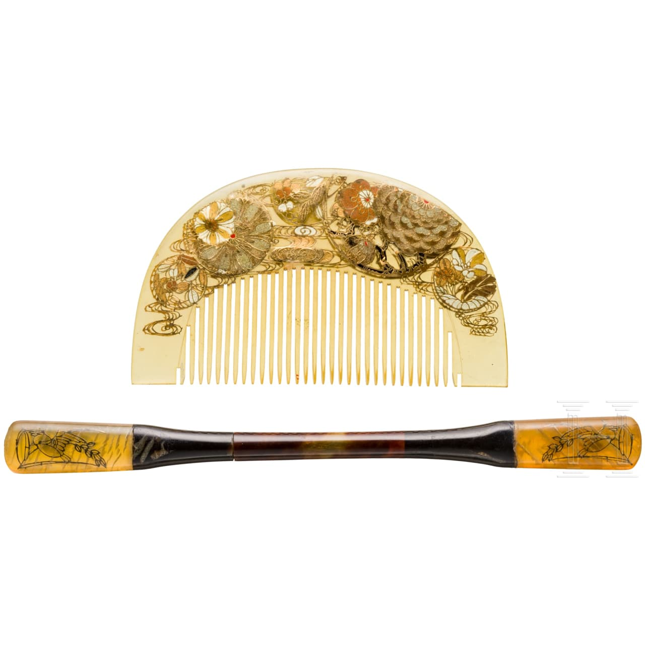 A Kazashi comb and a Kogai, end of Meiji-/beginning of Taisho-period
