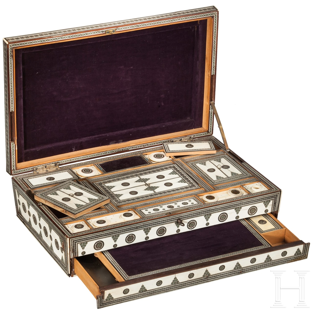 An Indian ivory mounted sewing casket, ca. 1880