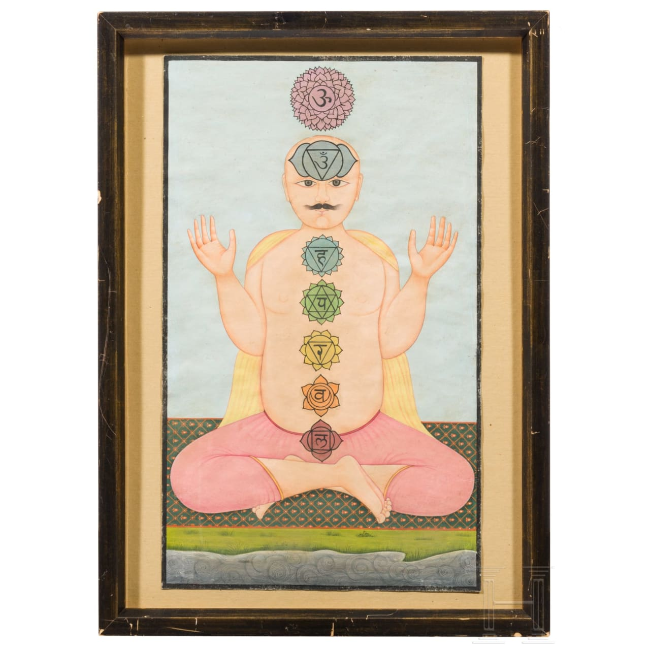 A miniature painting of a Yogi, Gouache on paper, India, 19th cent.