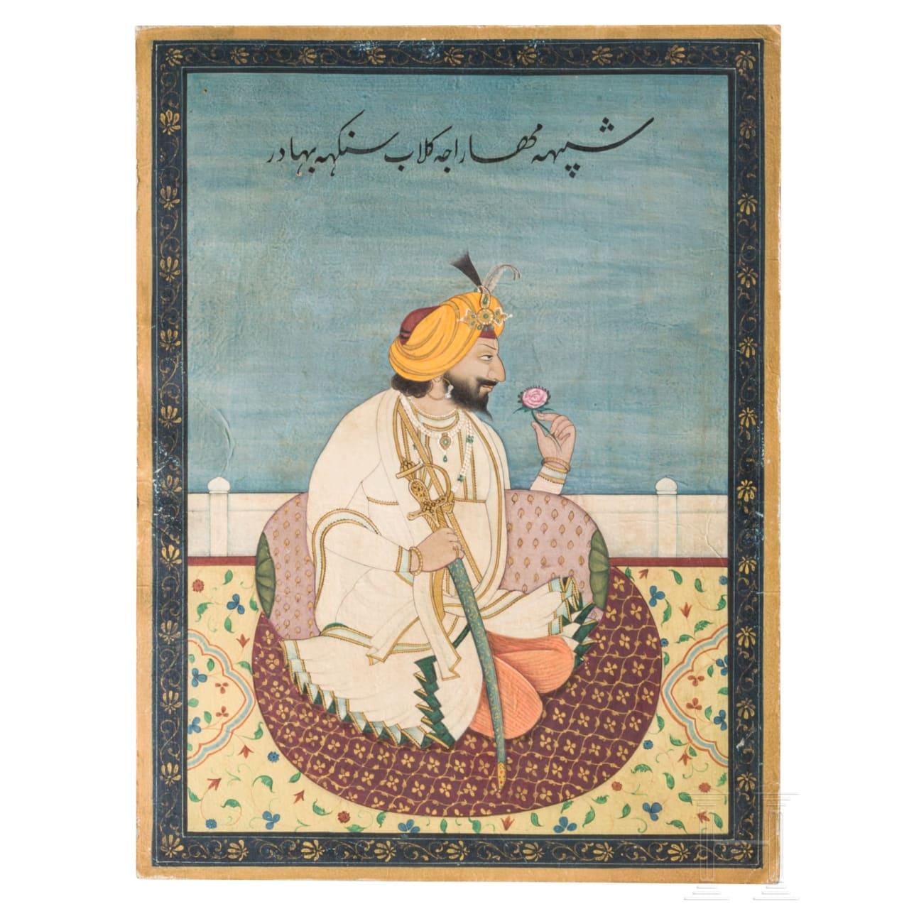 A miniature painting of Gulab Singh, maharajah of Kashmir, India, Jammu, circa 1880