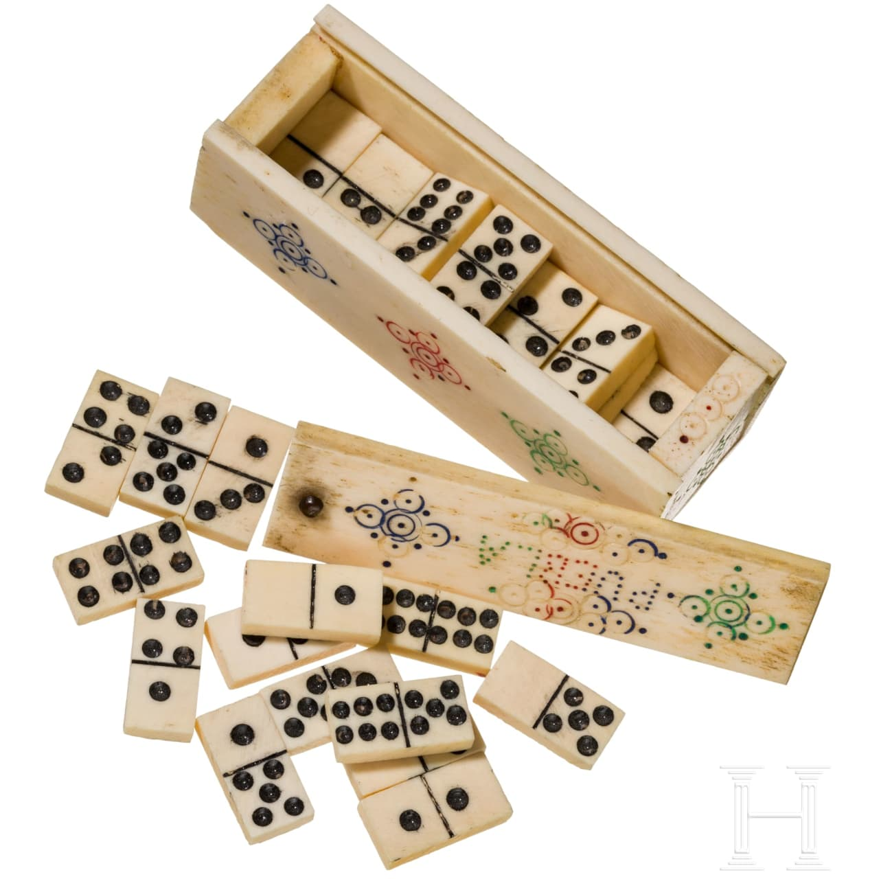 A probably Colonial-Spanish miniature ivory and bone domino game, 19th century