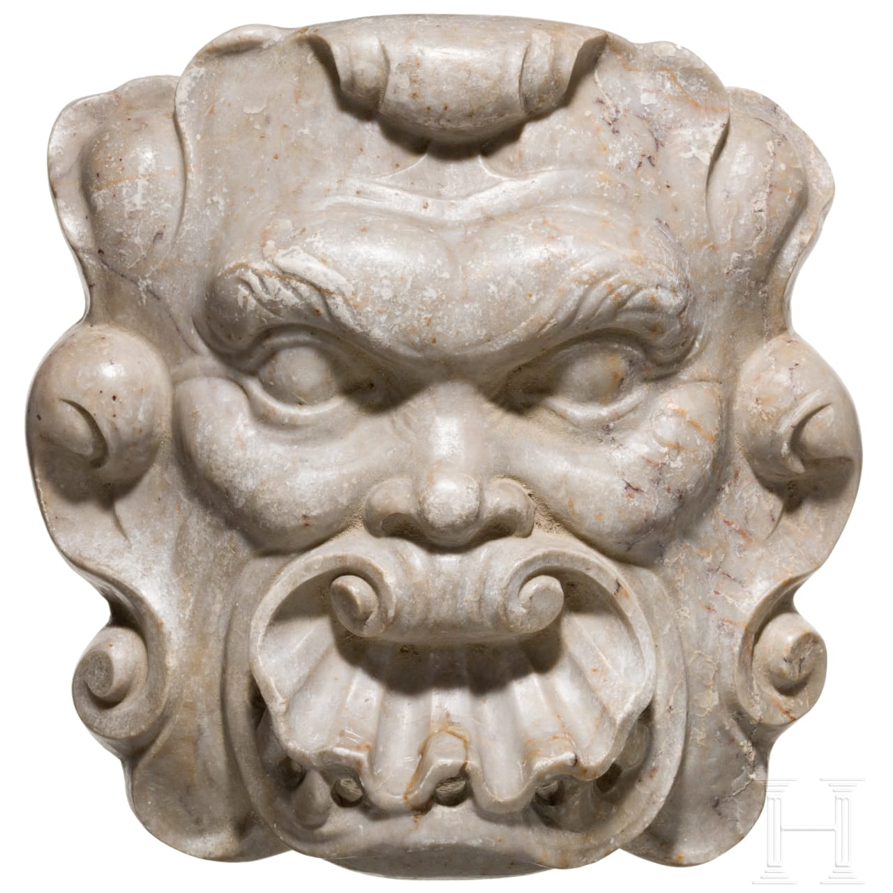 A Spanish baroque fountain mask in marble, 17th century