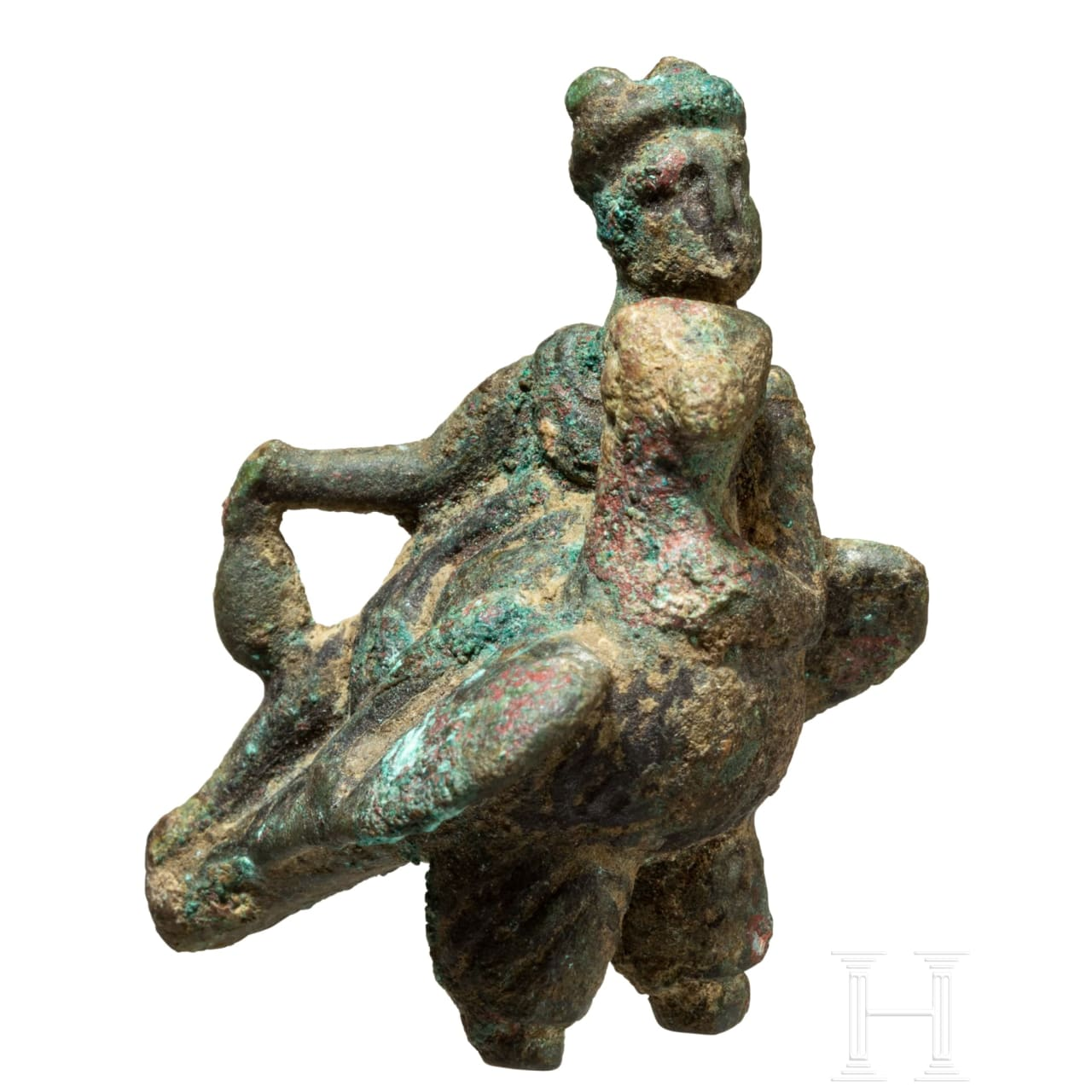 "Miniaturbronze ""Merkur auf Adler gelagert"", römisch, 2. - 3. Jhdt."