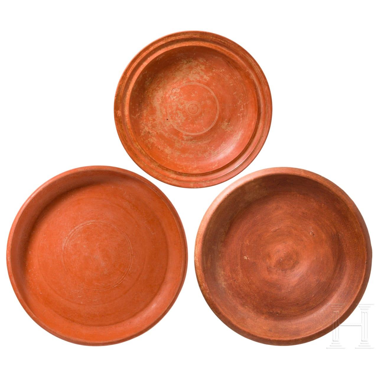 Three large Roman plates, 2nd - 3rd century