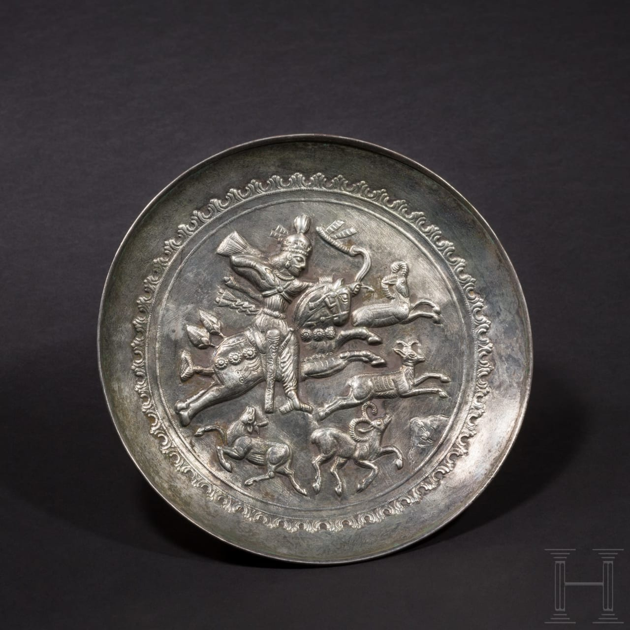 A royal Sasanian silver plate with a depiction of the hunting Shapur II, Iran, 4th century A.D.