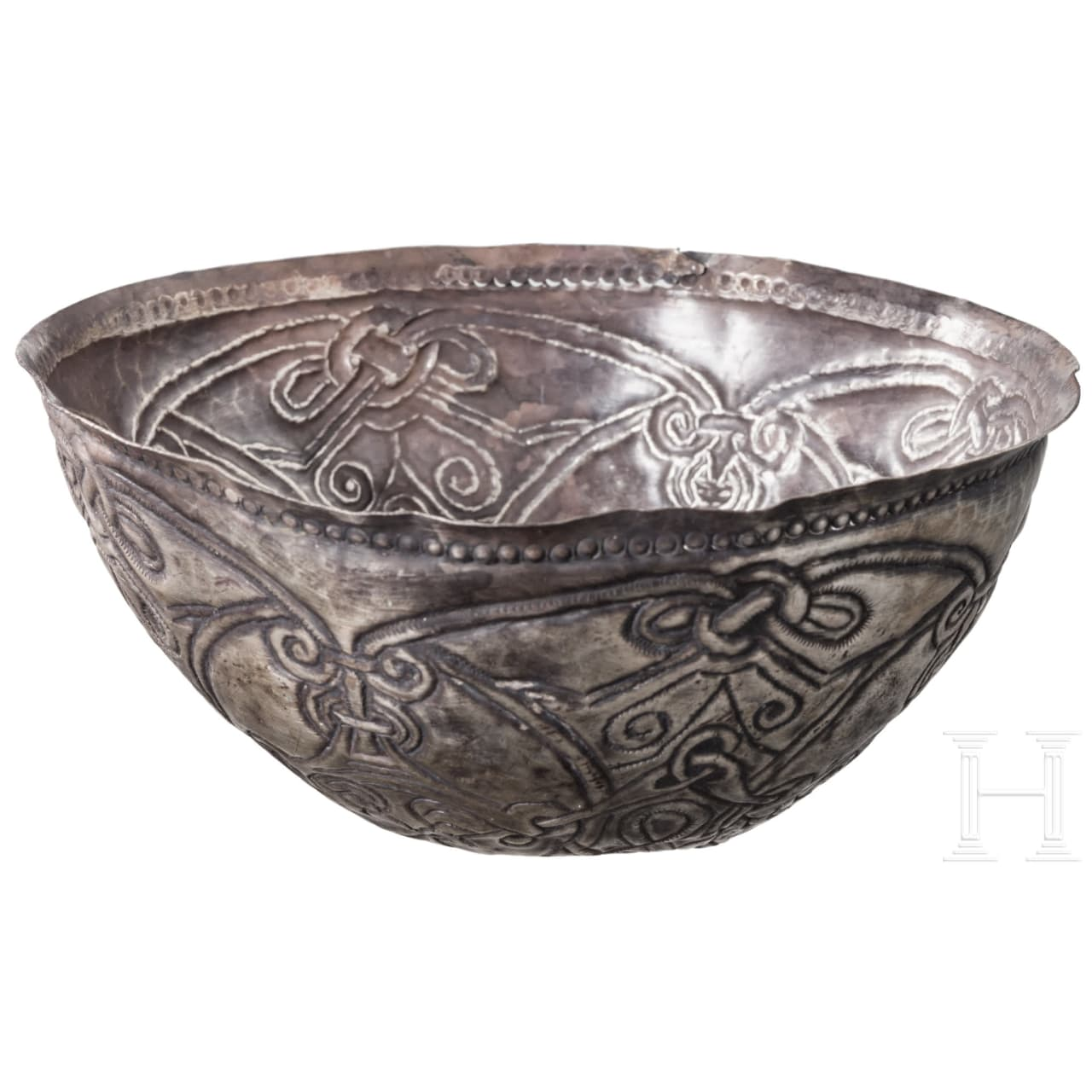 A Viking silver bowl, 9th - 10th century