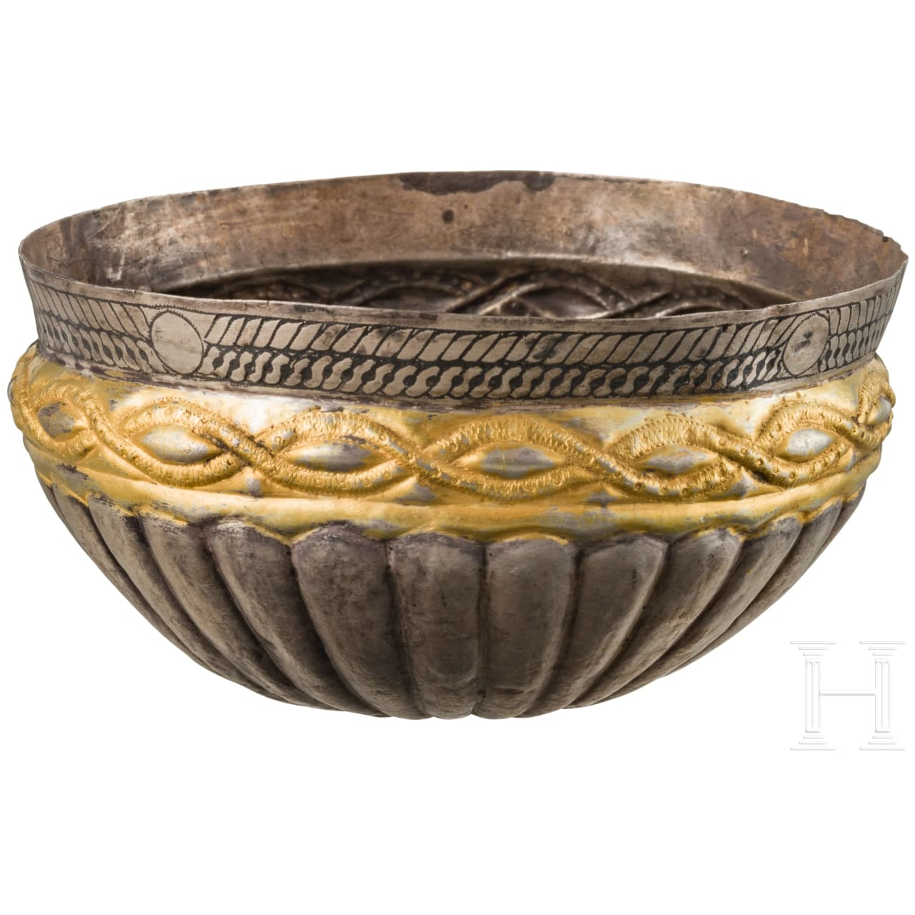 An East European silver Viking bowl, partially gilded, 11th - 12th century