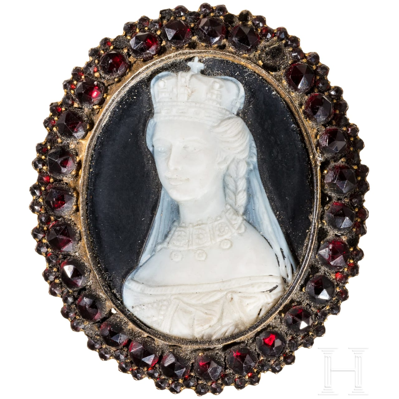 Empress Elisabeth of Austria - funeral brooch with cameo portrait