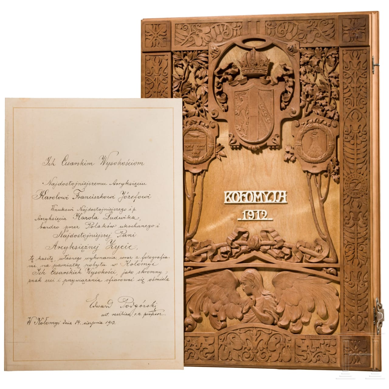 Emperor Charles I - a commemorative cassette to Kolomea, dated 1912/13