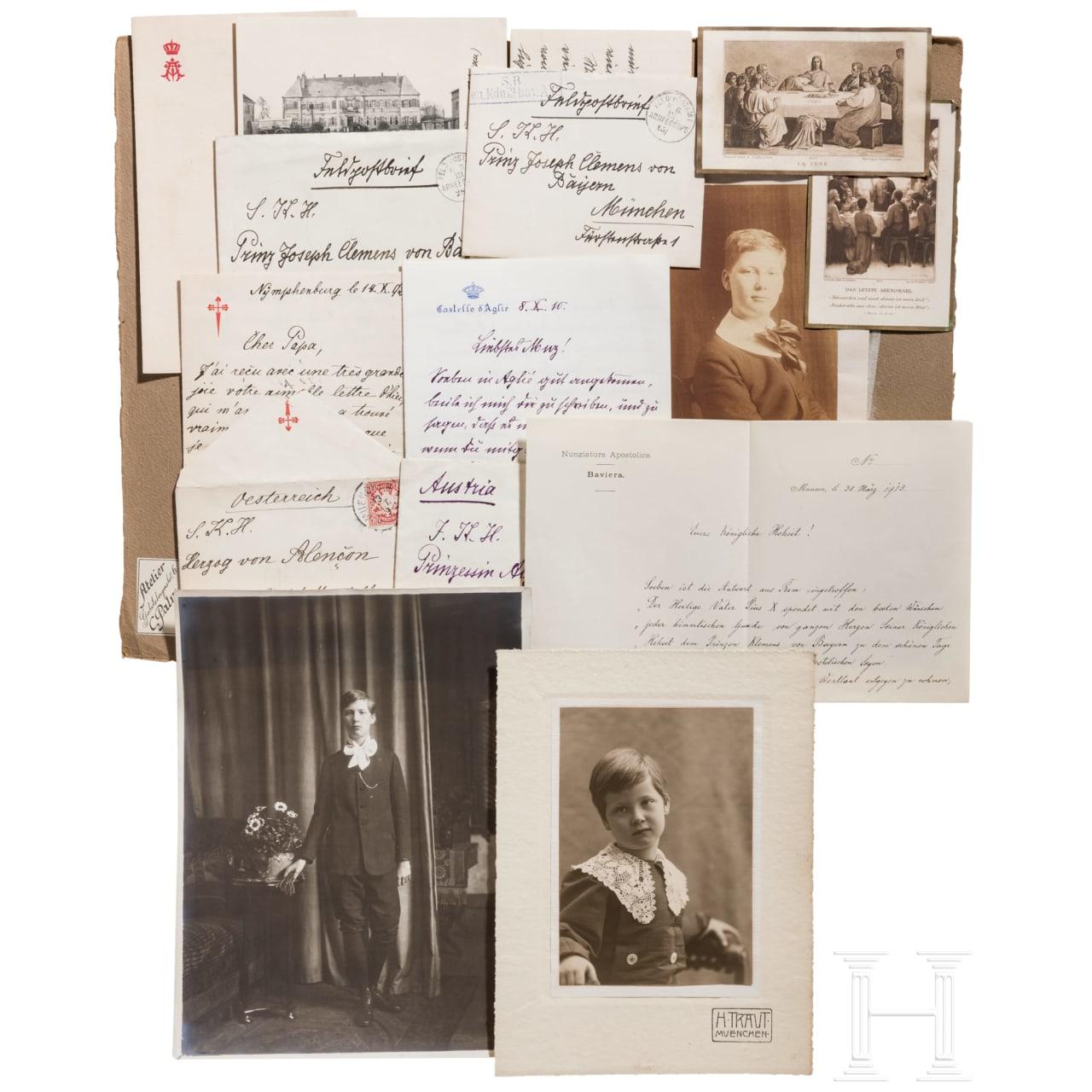 Prinz Alfons von Bayern (1862 - 1933) - vier eigenhändige Briefe 1892 - 1915 sowie drei Fotos des Prinzen Joseph Clemens