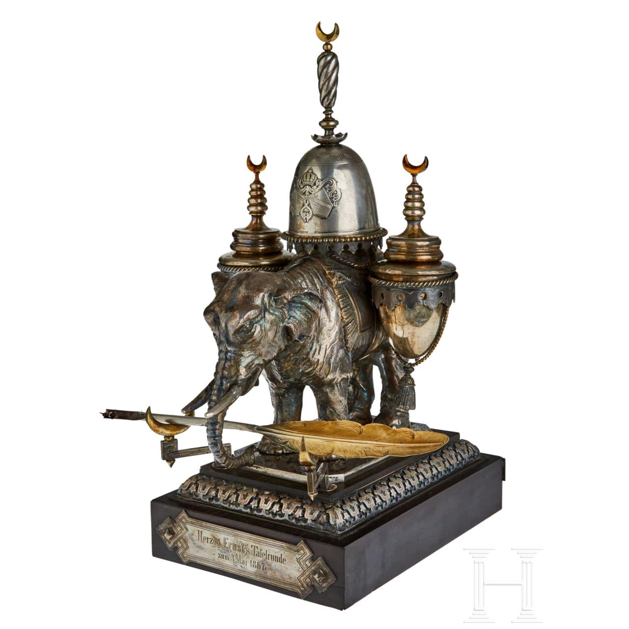A stunning silver elephant inkwell desk set of Duke Ernst II of Saxony-Coburg and Gotha