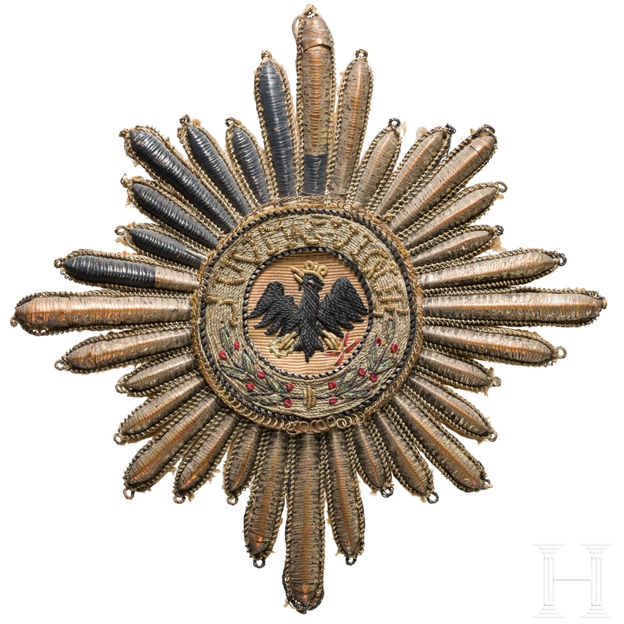 High order of the Black Eagle - a star in embroidered execution