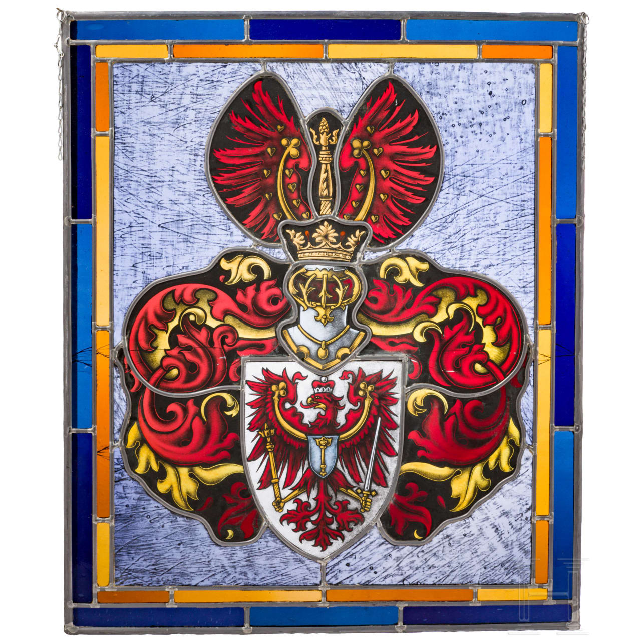 A glass picture of the coat of arms of the Margraviate of Brandenburg, 20th century