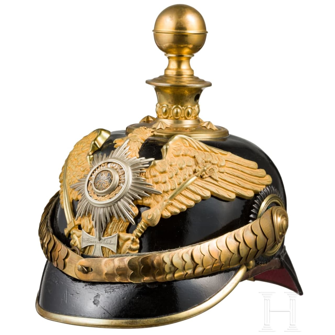 A helmet for reserve officers of the guard artillery, circa 1900