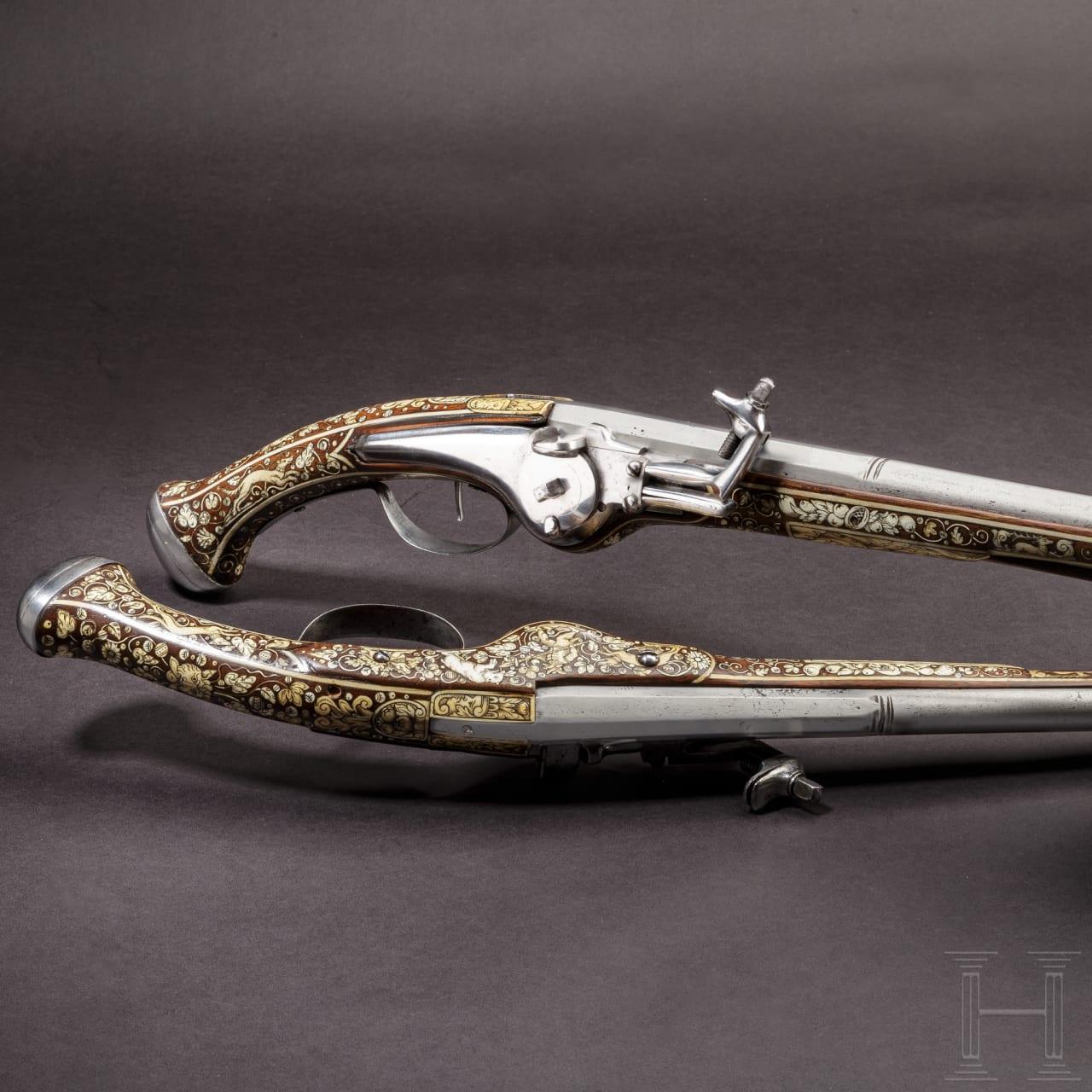A pair of long bone-inlaid wheellock pistols, Teschen, circa 1630