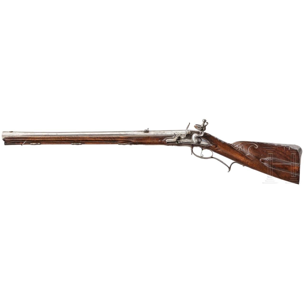 A flintlock carbine for a left-handed person, Caspar Kopstadt in Coesfeld, dated 1713
