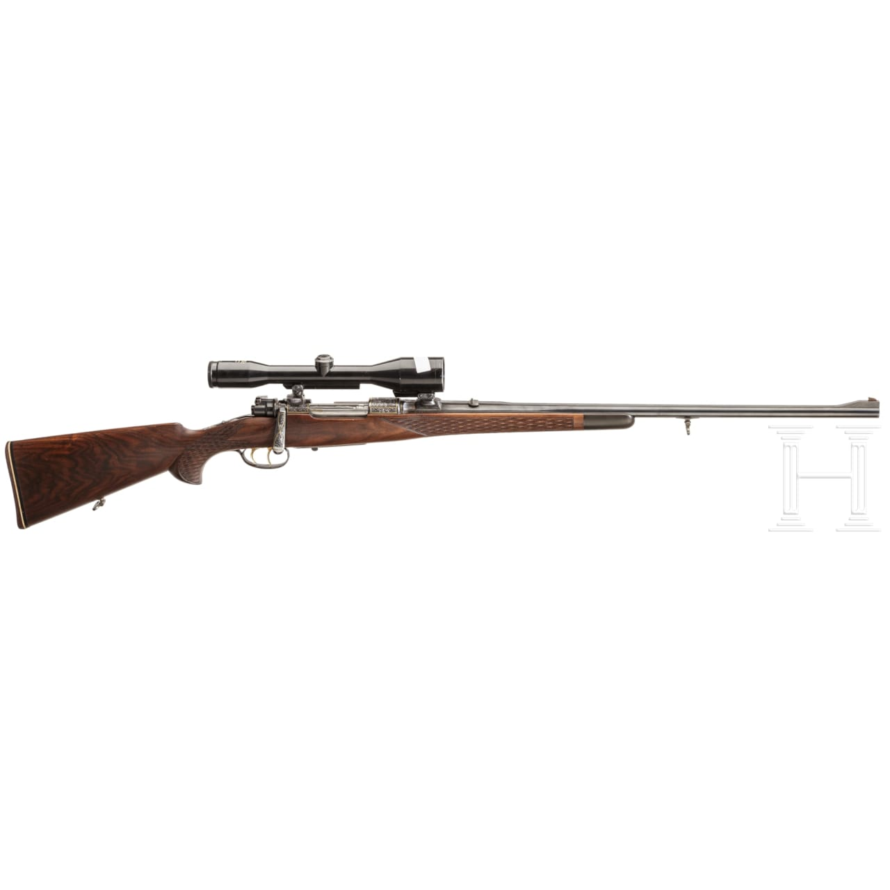 A Borovnik repeating rifle, Ferlach, with Zeiss scope