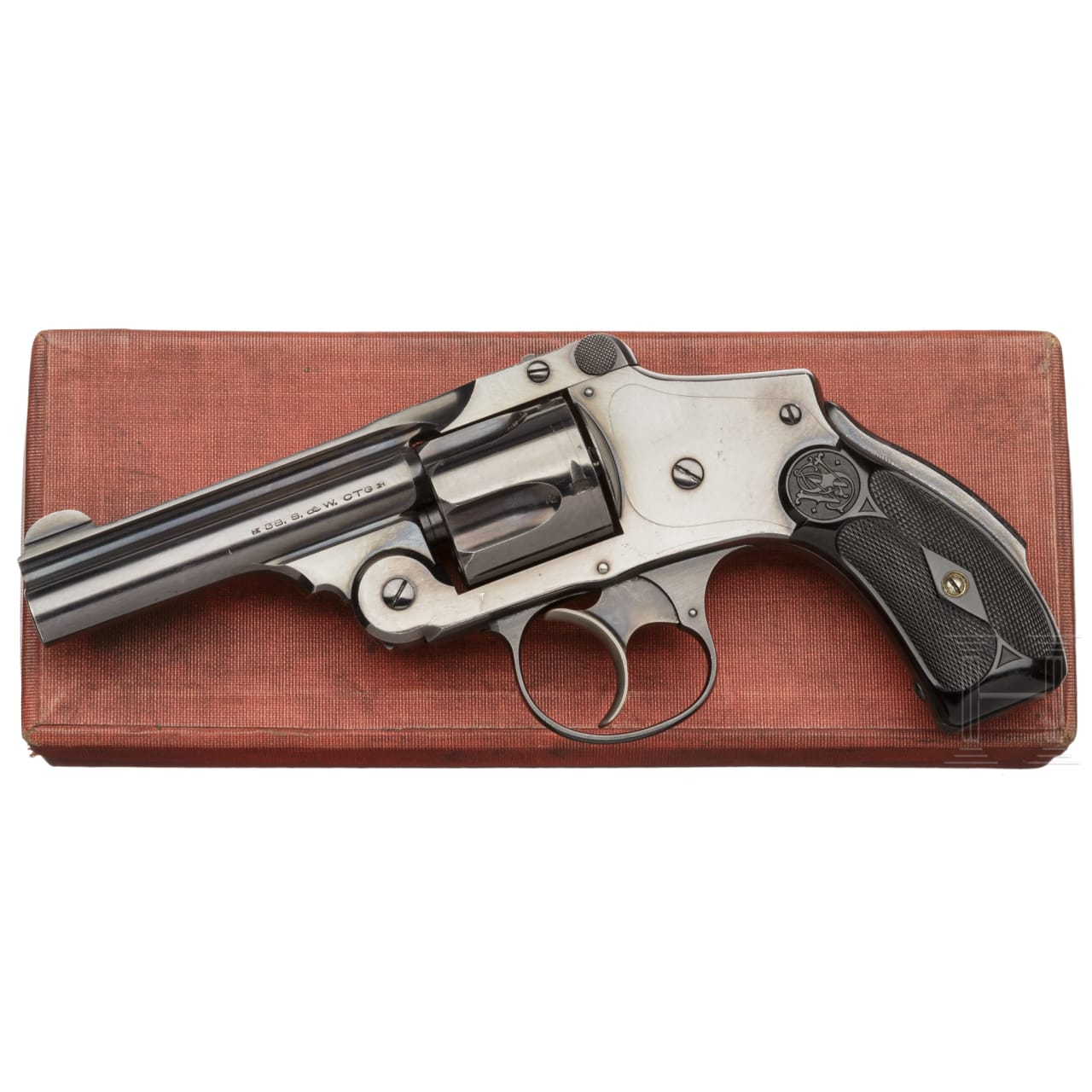 A Smith & Wesson .38 Safety Hammerless 5th Model, in box
