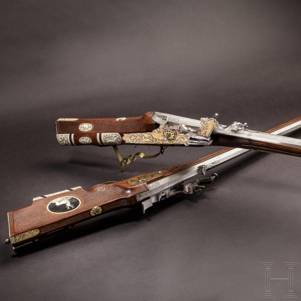 A pair of bone-inlaid wheellock rifles by Joseph Mair in Innsbruck, circa 1720/30