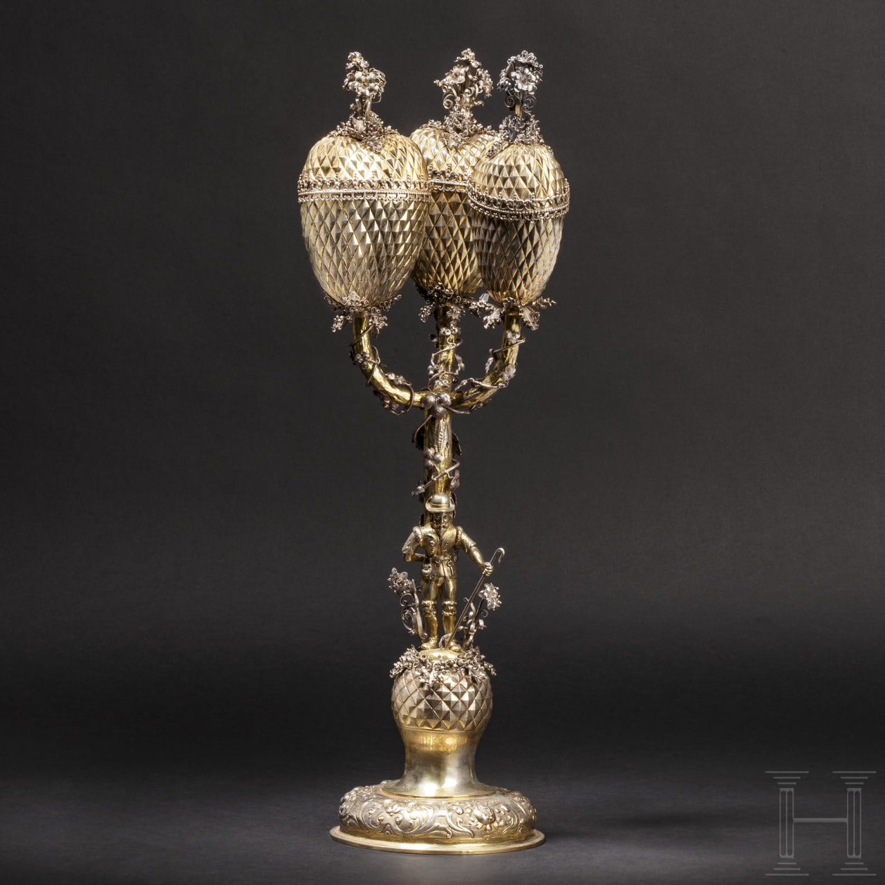 A German three-branch pineapple trophy set with diamonds, circa 1900