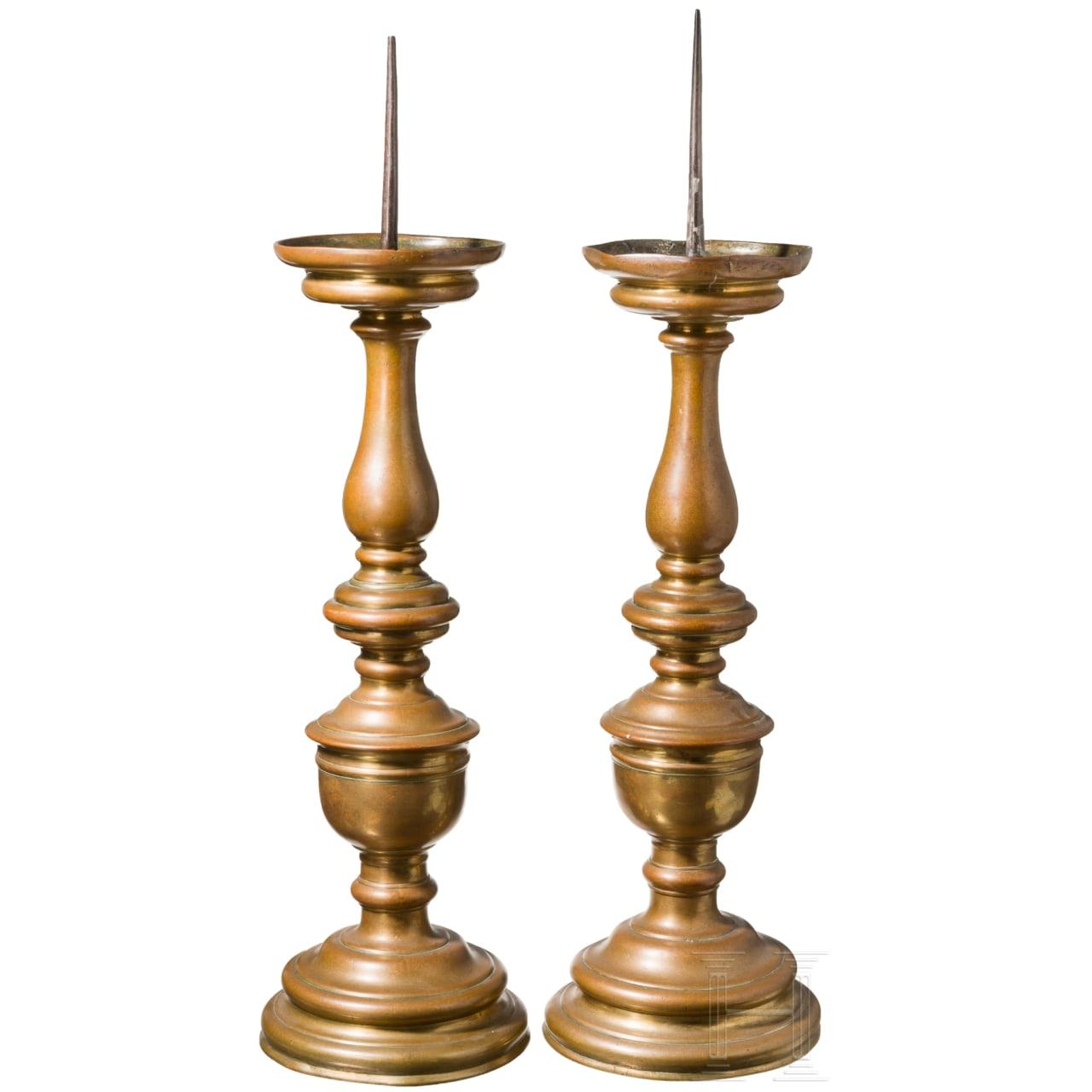 A pair of large Renaissance pricket-candlesticks, Nuremberg, circa 1560