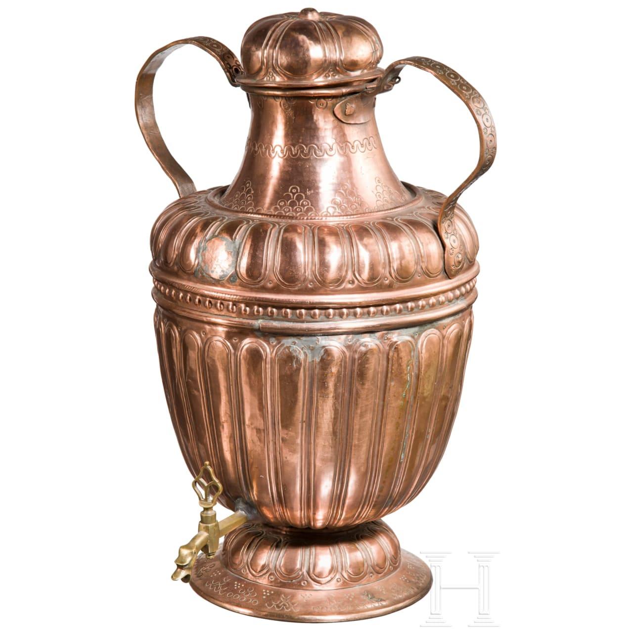 A large Venetian copper water jug, 17th century