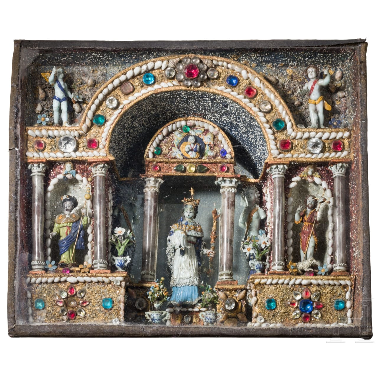 A rare French Louis XIII house altar of glass, Nevers, circa 1630