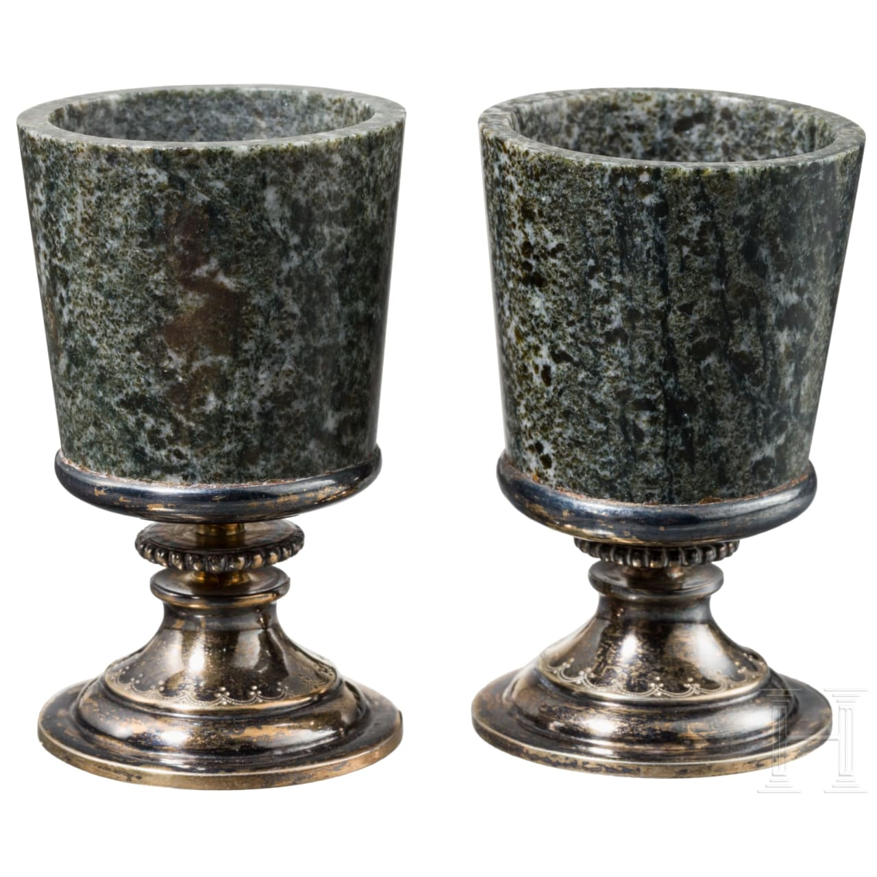 A pair of small silver mounted cups in serpentine, Stockholm, 1901