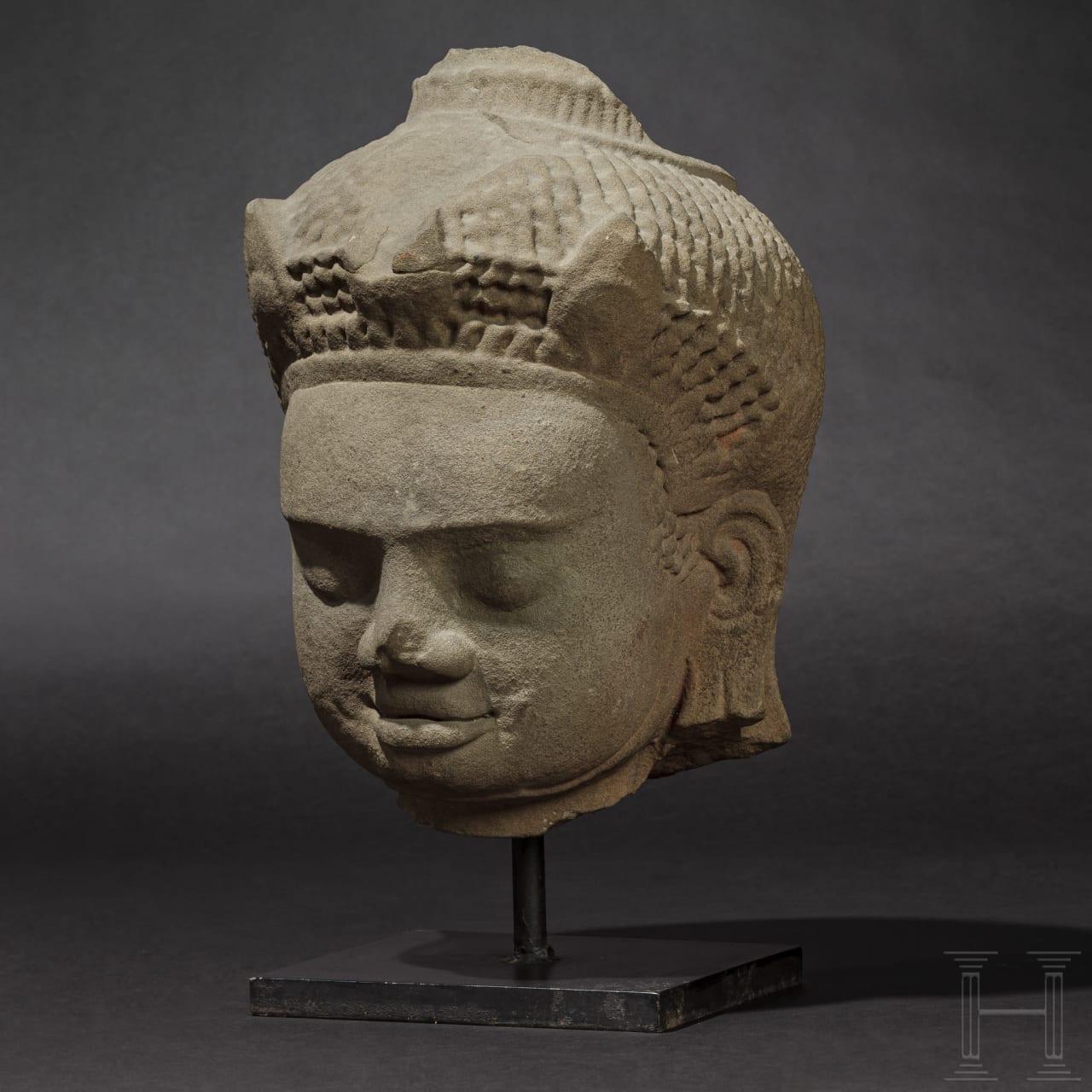 The larger-than-life sized head of a Dvarapala, Mon Dvaravati (Thailand), 8th/9th century