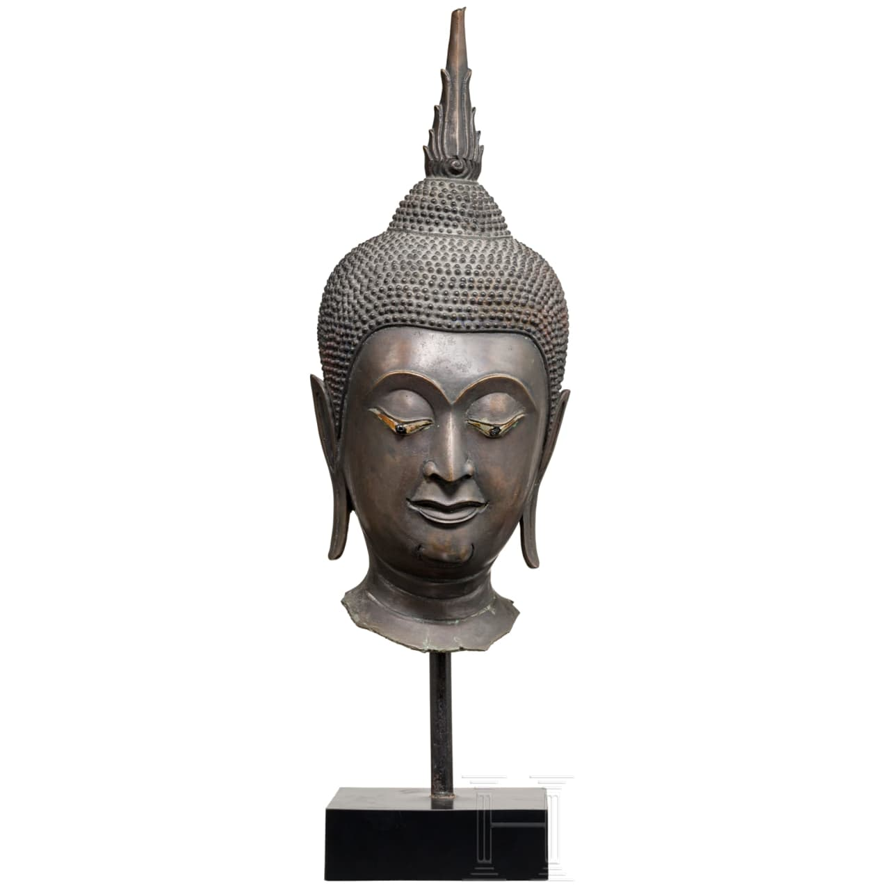 A fine bronze head of a Thai Buddha, 18th century