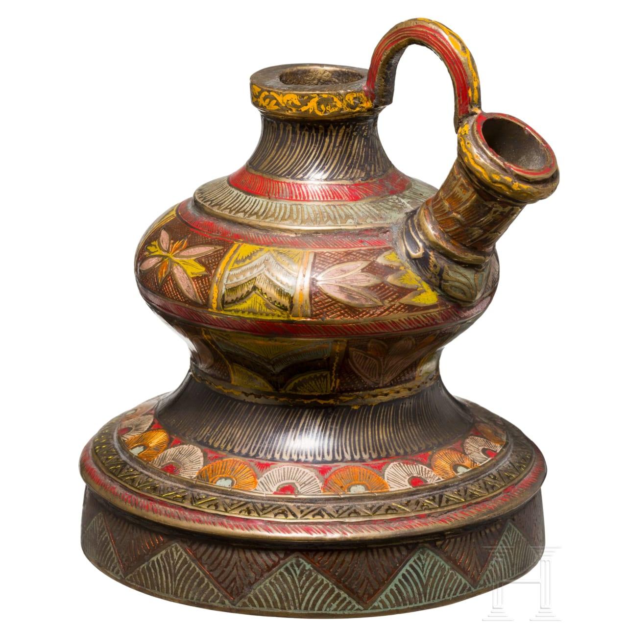 An Indian enameled Hookah-base, 19th century
